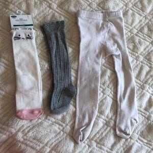 Bundle baby knee high socks tights baby Zara 12 m